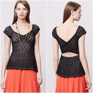 Anthropologie Black Lace Peplum Top Open Back